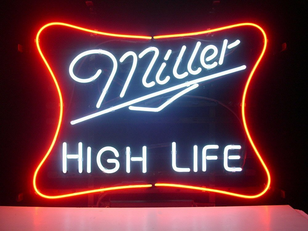 Urby™ Miller Lite High Life Real Glass Neon Light Sign Home Beer Bar Pub Recreation Room Game Room Windows Garage Wall Sign 18''x14'' ML05