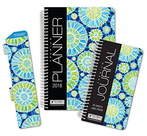 Best Planner 2018 Agenda For Productivity  Durability And Style  5X8 Daily Planner   Weekly Planner   Monthly Planner   Yearly Agenda  Hardcover Organizer With Bookmark   Journal  Blue Green Flowers