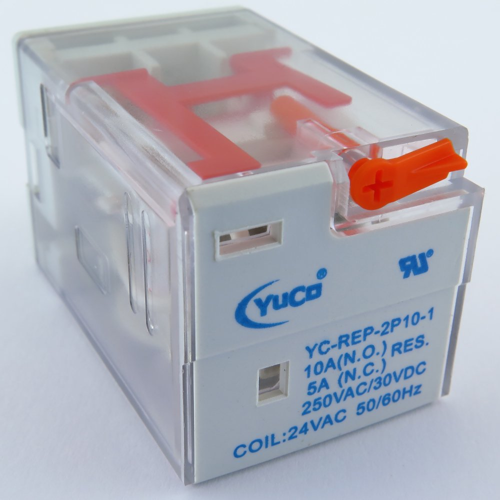 YC-REP-2P10-1 YuCo ICE CUBE GENERAL PURPOSE RELAY OCTAL BASE 8PIN 2PDT 10AMP 24VAC 50/60HZ AC-COIL