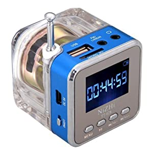 Digital Radio, soled Digital Portable Music MP3/4 Player TF Card USB, Colorful Disk Mini Speaker FM Radio For gift Blue