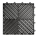 RaceDeck Free-Flow Open Rib Design, Durable Interlocking Modular Garage Flooring Tile (12 Pack), Black