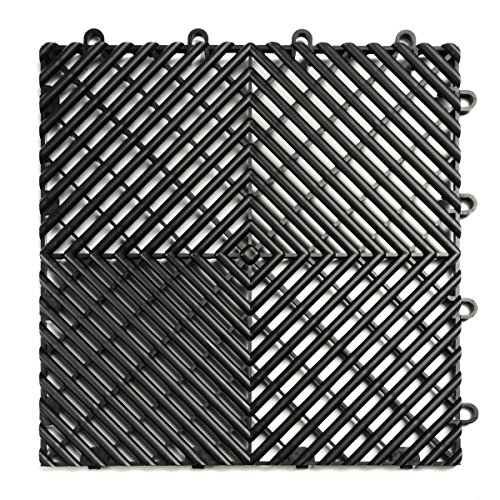 RaceDeck Free-Flow Open Rib Design, Durable Interlocking Modular Garage Flooring Tile (12 Pack), Black by RaceDeck