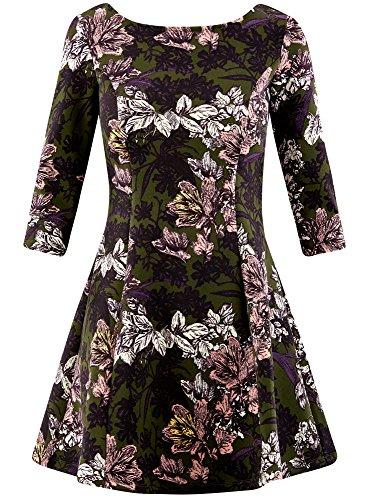 en Maille Vert Imprime Femme Robe 254bf oodji Ultra qfHZtnz
