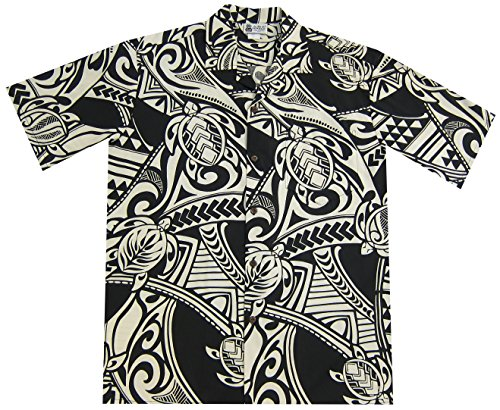 2XL Black Maori Tribal Tattoo Men's Hawaiian (Maori Tattoo)