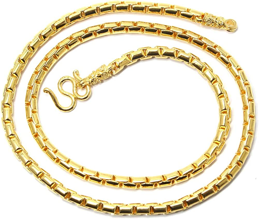 "Bangkok Bazaar Superb Men's Chain 20"" Thai Baht Heavy Necklace 24k Gold Plated Jewelry Hand Made in Thailand"