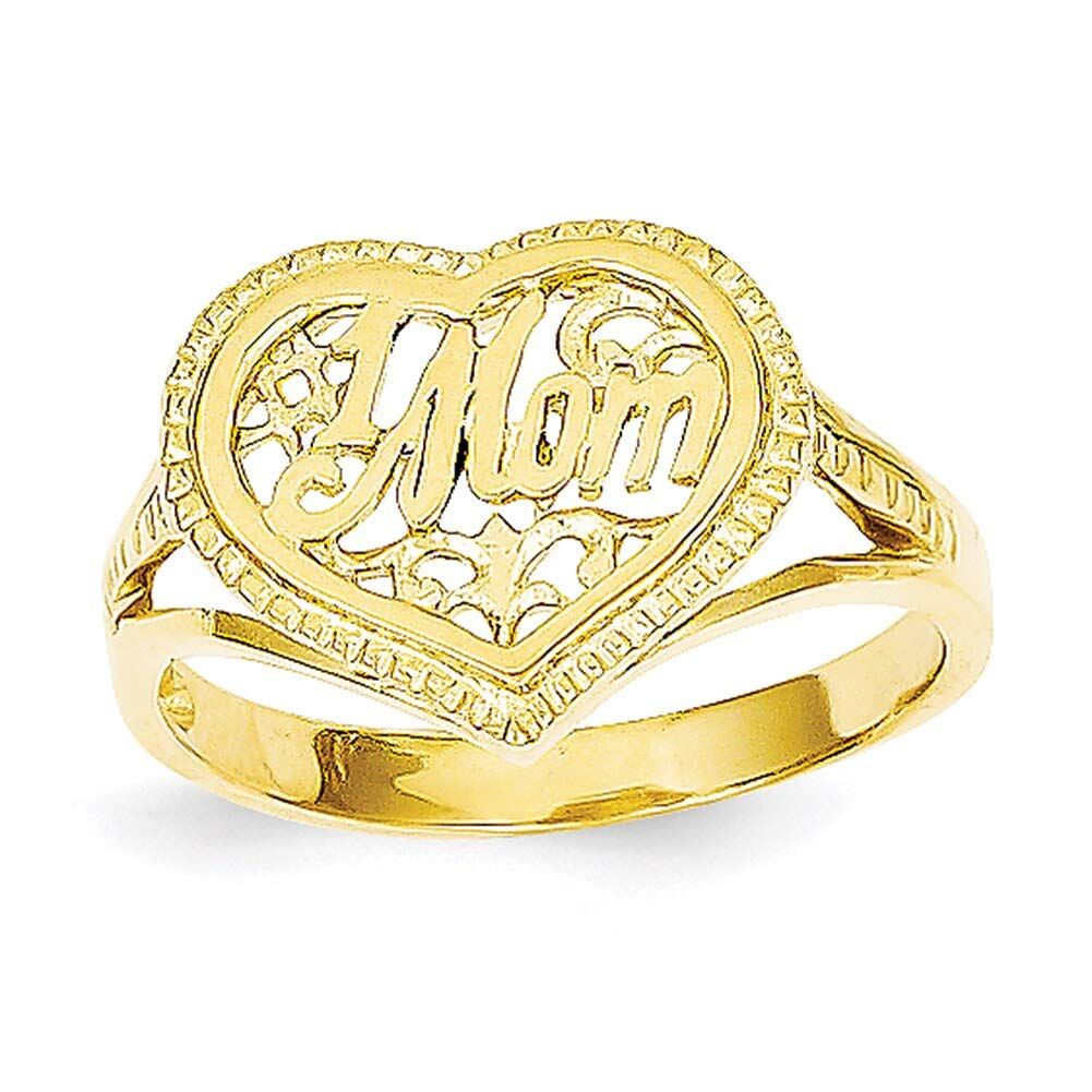 Lex /& Lu 14k Yellow Gold #1 Mom in Heart Ring