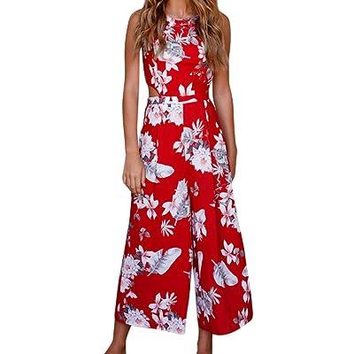 ????Combinaison femme, Honestyi Femmes les femmes clubwear occasionnels avec des motifs floraux combinaison pantalon large jambe imprimé combinaison