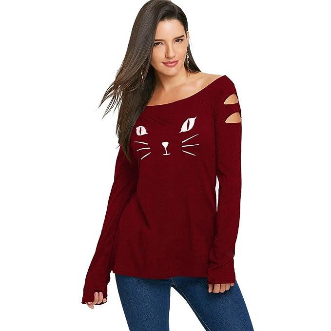 Mujer blusa elegante Otoño,Sonnena ❤ Camisa Cold Cold Hombro estampado mujer Camisas flojas de manga larga casual Blusa Tops: Amazon.es: Hogar