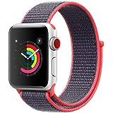 AIGENIU コンパチブル Apple Watch バンド、ナイロンスポーツループバンド Apple Watch Series4/3/2/1に対応 (42mm/44mm, エレクトリックピンク)