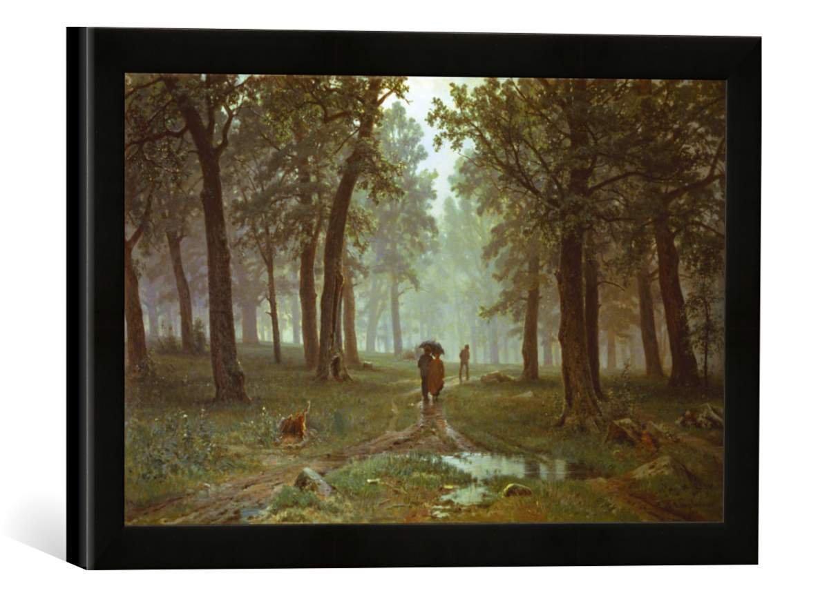Gerahmtes Bild von IWAN Iwanowitsch Schischkin Regen im Eichenwald, Kunstdruck im hochwertigen handgefertigten Bilder-Rahmen, 40x30 cm, Schwarz matt