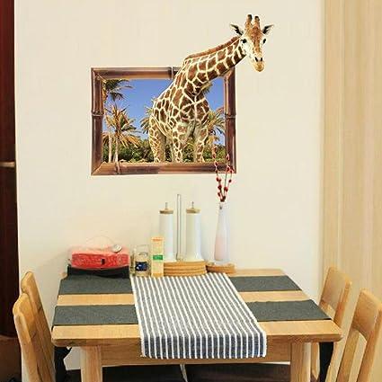 3D Giraffe Animal Wall Sticker Decal Home Paper PVC Murals House Wallpaper Bedroom Kids Babies Living