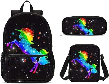 Foruidea Space Galaxy Unicorn Magic Mochilas Set de 3 Piezas Bolsa de Hombro lápiz Estuche para niños Back to School Mochila Ligera para niños niñas: Amazon.es: Equipaje