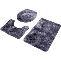 Bathroom Rug Set, Washable Polyester Fiber+PVC Bath Mat, for Bathroom(Purple)
