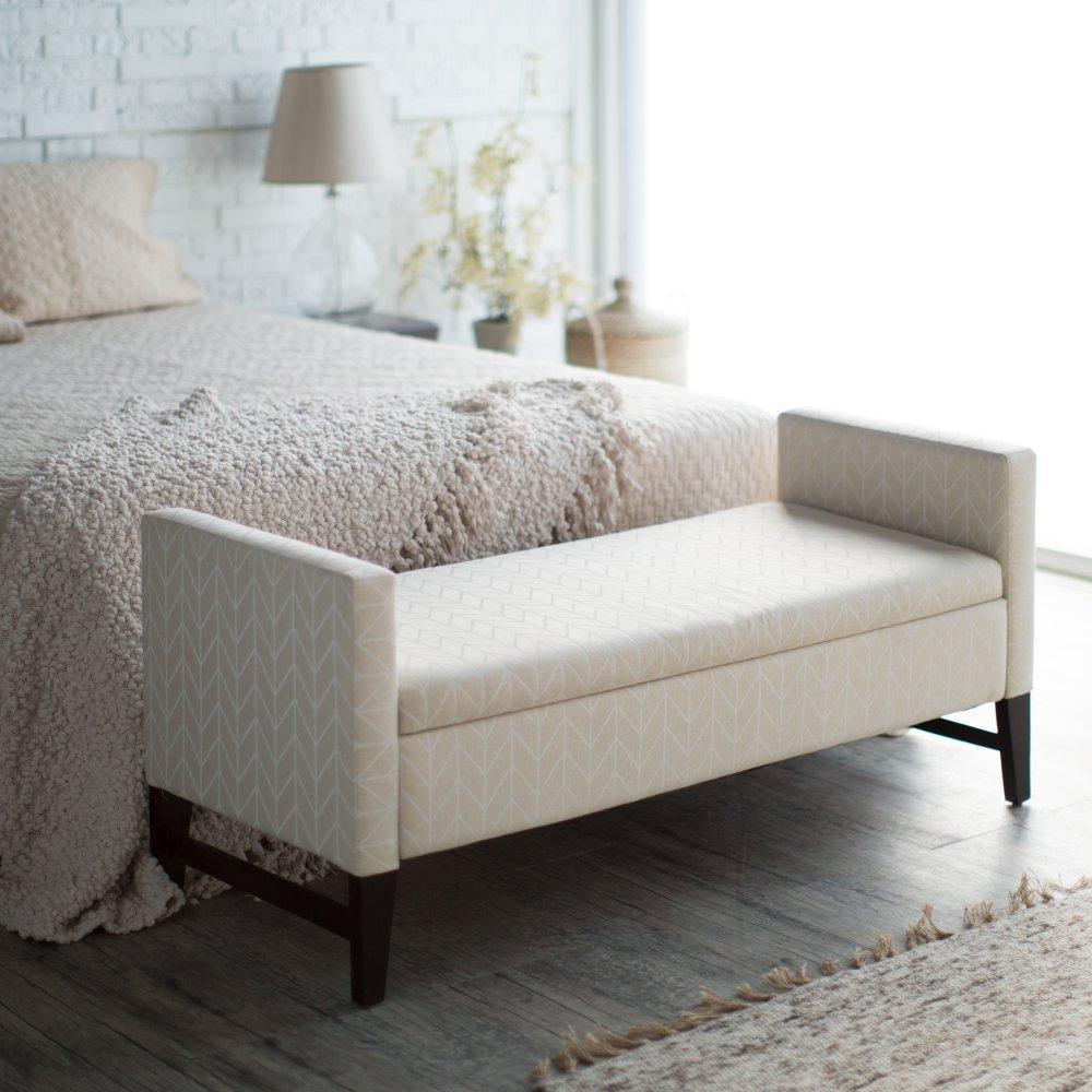 Storage Bench Upholstered #24 - Amazon.com: Belham Living Camille Upholstered Backless Storage Bench -  Neutral Chevron: Kitchen U0026 Dining