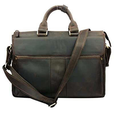 Genda 2Archer Vintage Simple Look Real Leather Laptop Briefcase Shoulder Bag Tote