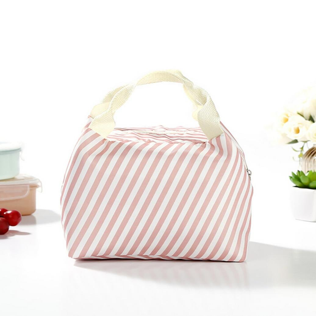 LiPing 8×5.9×6.2in Insulated Cold Canvas Stripe Picnic Carry Case Thermal Portable Lunch Bag Suitable for students, men, women studying life and work (Pink)