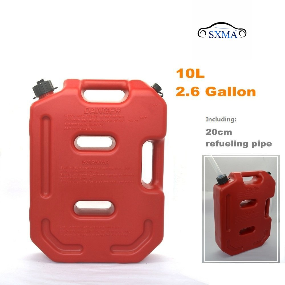 SXMA 10L Fuel Tank Cans Spare 2.6 Gallon Portable Fuel Oil Petrol Diesel Storage Gas Tank Emergency Backup (Pack of 1) Red by SXMA (Image #6)