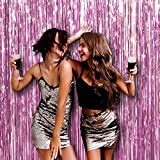 Light Baby Pink Sorority Door and Wall String Tinsel Curtains Supplies Decorations 3 x 8 Feet, Pack of 3 Metallic Shimmer Shine Foil Fringe Backdrop