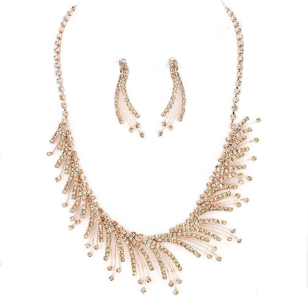 Elegance Women Rose Gold Crystal Necklace Ring Earring Set Gift Set