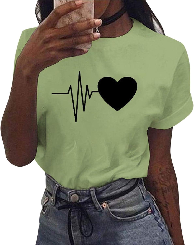 Voqeen T-Shirt Donna Maniche Corte Maglietta Manica Corta Tee Camicetta Casual Camicia Ragazza Stampa Top Moda Loose Sportivi Vintage Cotone Stretch Elegante Estiva Tops Bluse