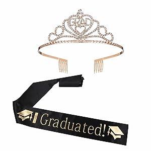 shinnybin Graduation Decorations 2021, Rose Gold Graduation Tiaras and Black Grad Sash Party Supplies for Graduation Grad Decor Favors