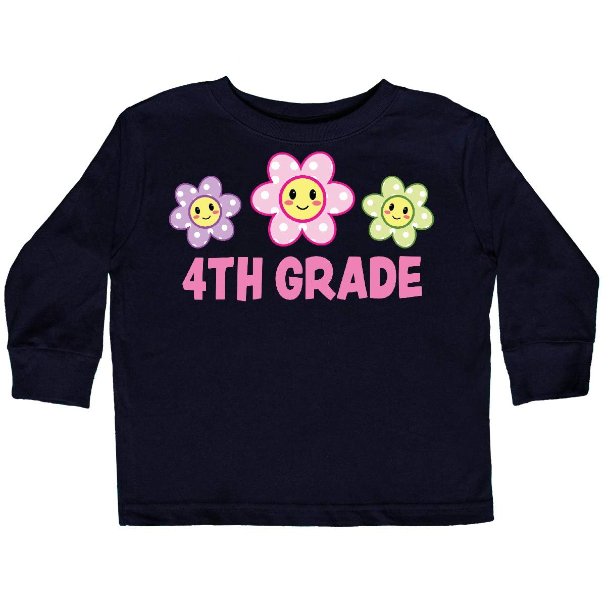 inktastic 4th Grade with Polka Dot Flowers Toddler Long Sleeve T-Shirt