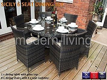 Modern Living Sicily Gartenmöbel Set, Runder Tisch Mit 6 Stühlen, Rattan