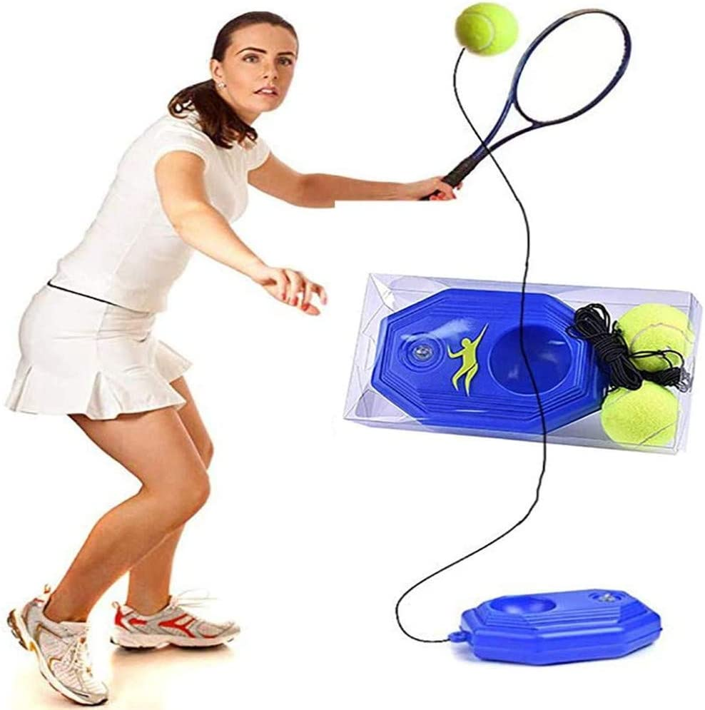 hmkazm Herramienta de Entrenamiento de Tenis, Entrenador de Tenis en Solitario, Herramienta de Entrenamiento de Tenis para Trabajo Pesado con Pelota De Ejercicios Sport Auto-Study Rebound Ball (Azul)