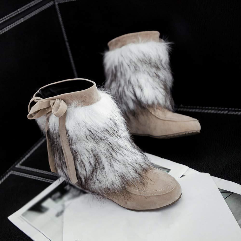 ZHRUI Damen Wildleder Plüsch Runde Zehe Wedges Schuhe Schuhe Schuhe Damen Winterschuhe Flock Warme Stiefel Martin Schneestiefel Kurze Stiefelie (Farbe   Beige) 14d5aa