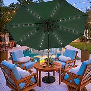 Sundale Outdoor 11FT 40 LED Lights Aluminum Patio Market Umbrella with Hand Push Tilt and Crank, Garden Pool Solar Powered Lighted Parasol, 8 Ribs, Dark Green