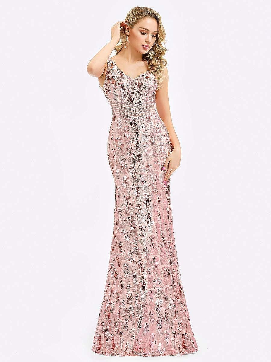 Ever-Pretty Vestito da Cerimonia Donna Sirena Paillettes Scollo a V Senza Maniche Stile Impero Lungo 07872