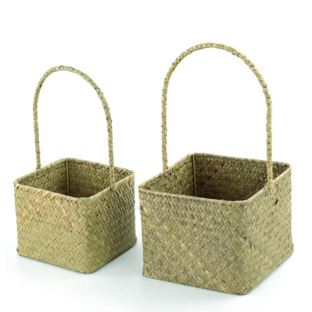 2 PCS Seagrass Flower Girl Basket for Wedding Ceremony Party Home Decor (Small & Large) (E, Natural - Small & Large) by Qliwa