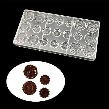 Vak 21 tazas/de girasol flores con forma de Chocolate moldes de policarbonato transparente, ...