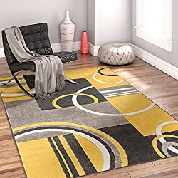 "Echo Shapes & Circles Golden Yellow 8x10 8x11 ( 7'10"" x 9'10"" ) Geometric Comfy Casual Hand Carved Area Rug Easy to Clean Stain & Fade Resistant Abstract Contemporary Thick Soft Plush"
