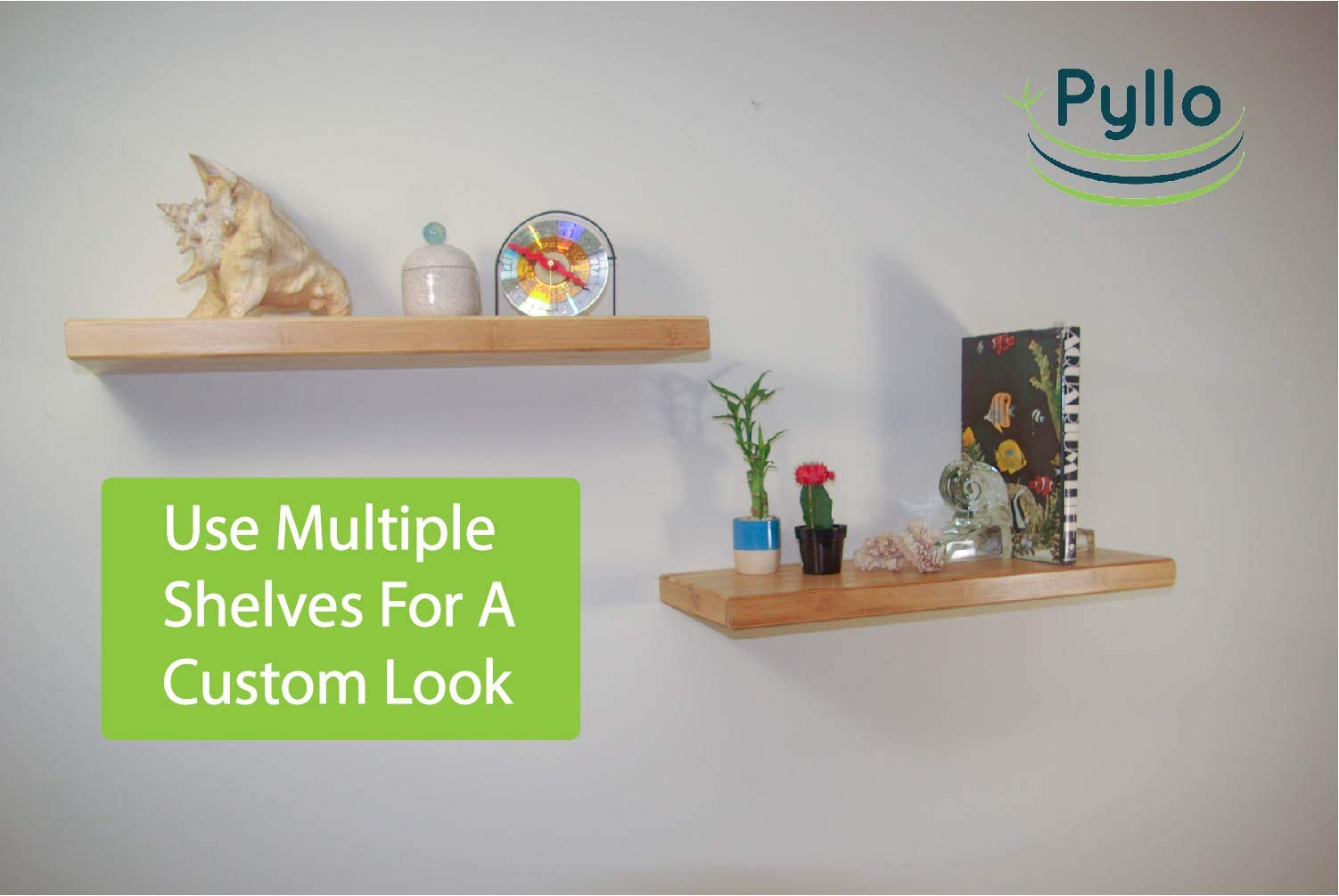 "Pyllo Bamboo Floating Shelf - Floating Wall Shelves with Hidden Bracket - Made from 100% Bamboo - 23 5/8"" X 9 1/4"" X 1 1/2"" - Easy Installation - PREMIUM QUALITY ECO-FRIENDLY BAMBOO SHELF - NO MDF (Particle Board) : Perfect For Office, Kitchen, Bedroom, Bathroom, Nursery, or Anywhere Around Your Home. EXTRA WIDE 9 1/2 Inches , Makes A Great Display Shelf For Books, Pictures, or Collectibles. The Durable Natural Carbonized Finish is Easy to Clean and Will Last For Years. EASILY HOLDS UP TO 25 POUNDS - With Our Wall Mounted Shelves, Only One Single Hidden Bracket Is Needed, Which Makes For EASY INSTALLATION! No Exposed Shelf Brackets To Get In Your Way. Hidden Mounting Bracket Gives a Floating Shelf Appearance... EASY TO FOLLOW INSTRUCTIONS, with Drywall Anchors, That Require NO DRILLING and Screws Included. BAMBOO IS NATURALLY ANTIBACTERIAL, ANTIMICROBIAL and WATER RESISTANT, which makes them Perfect for Bathrooms and Nurseries. These Floating Wall Shelves are not only Beautiful, but Durable as well. Bamboo will hold up to dings and spills. Our Bamboo comes from sustainable forests. - wall-shelves, living-room-furniture, living-room - 61dHyQwtCnL -"
