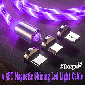 6.5ft 3 in 1 Magnetic Charging Cable LED Flowing Shining Purple Cord Light Up Candy Moving Party Streamer Absorption USB Compatible with Mirco USB Android, Type C Smartphone and iProduct Device