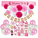 VEYLIN 42 Pack Baby Shower Decorations Girls - IT'S A GIRL Banner, Pink Mummy to Be Sash, Girl Baby Photo Booth Props, Tissue Paper Flowers and Balloons (Pink)