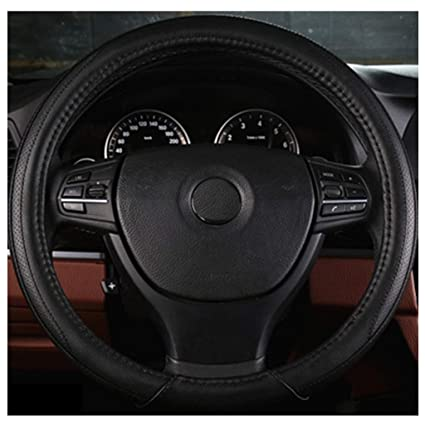 ADHW Steering Wheel Cover,Microfiber Leather 36-50 cm//14.2-19.7inch Year Round Use For Large Medium,Small Trucks//Buses//SVU Color : Black 2, Size : 42cm