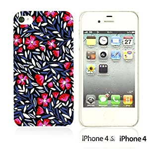 OnlineBestDigitalTM - Flower Pattern Hardback Case for Apple iPhone 4S / Apple iPhone 4 - Tiny Branches Flower