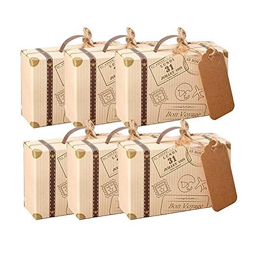 Kingsley 50pcs Mini maleta boda Favor caja con cordel de ...