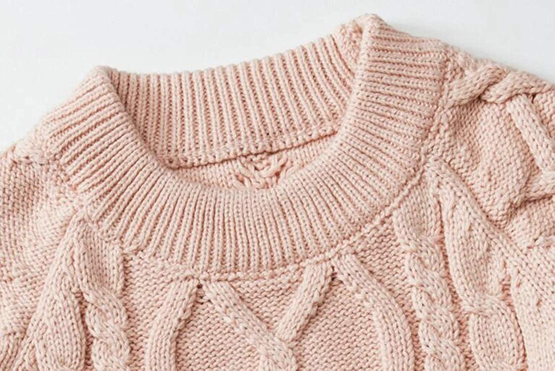 Hajotrawa Girls Boys Round-Neck Casual Cable Knitted Cute Sweater