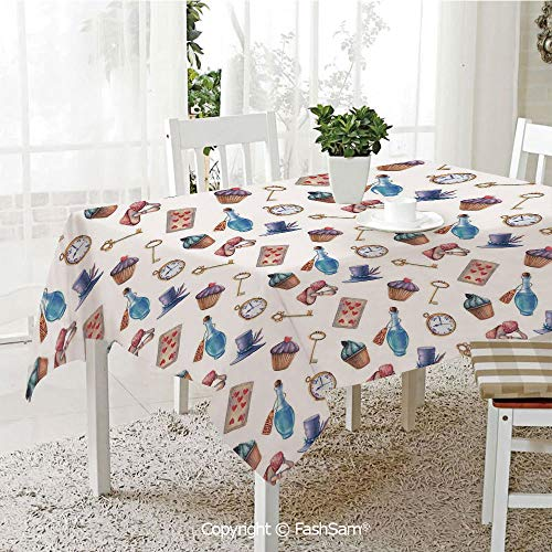 (Party Decorations Tablecloth Cupcakes Mushrooms Bottles Hanging in Sky Alice Magic Dessert Fairy Tale Dining Room Kitchen Rectangular Table Cover(W60)