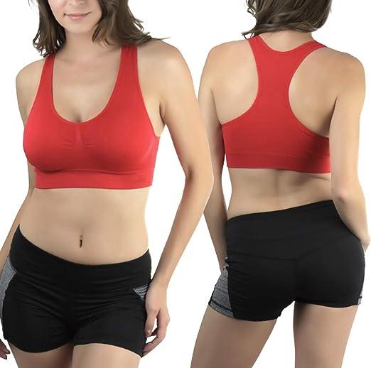 ToBeInStyle Women/'s Comfortable Basic Cotton Blend Lounge Racerback Sports Bra