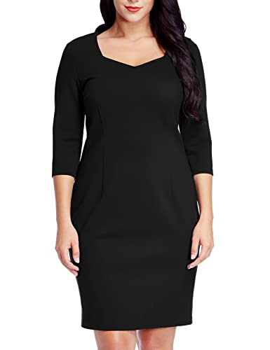 Grapent Women's Plus Size Black Sheath Dress with 3/4 Sleeve Bodycon Pencil Midi