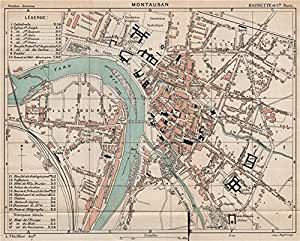 montauban vintage town city ville map plan carte tarn et garonne 1899 old map. Black Bedroom Furniture Sets. Home Design Ideas