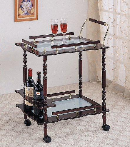 All new item Cherry finish wood tea serving kitchen cart with frosted glass inserts