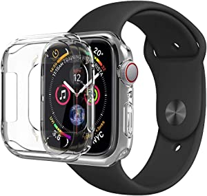 PTTECH Compatible for iWatch 4 5 Case 44mm, Slim Soft TPU Bumper Case Transparent Shockproof Protective Cover Replacement for Apple Watch Series 4 Series 5 44mm,Crystal Clear