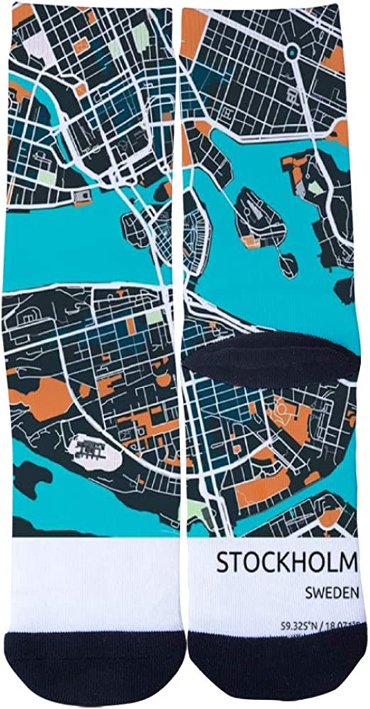 Stockholm City Map Metal Prints 1 Socks Mens Womens Casual Socks Custom Creative Crew Socks