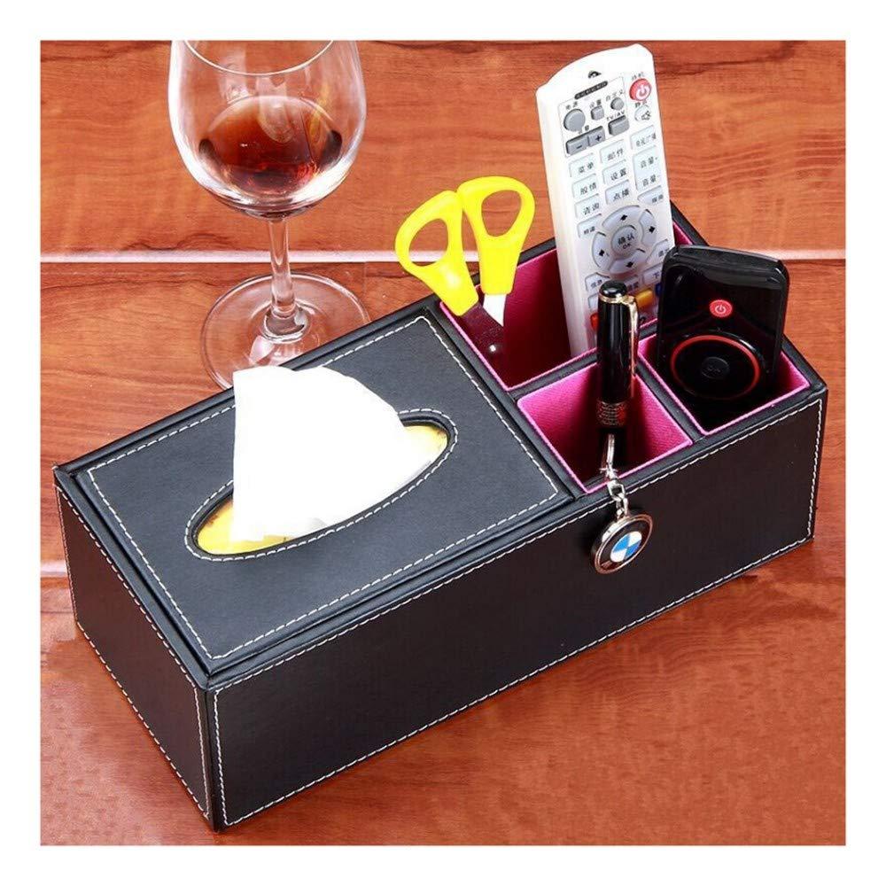 SHUCHANGLE Tissue Box Halter Kosmetiktücher-Box Multifunktionsspeicher Pu-Leder Rechteckige Form Einfache Schwarz Desktop Aufbewahrungsbox Wohnzimmer Fernbedienung Aufbewahrungsbox B07NSTKDZJ Toilettenpapieraufbewahrung