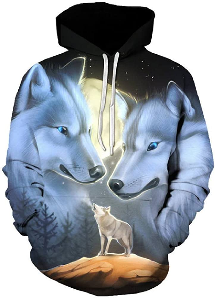 Men Lady Galaxy Wolf 3D Print Hoodie Sweatshirt Pullover Coat Jumper Hoody Tops
